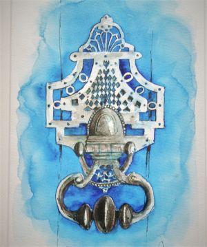 Heurtoir de porte fond bleu
