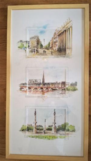 Triptyque cartes postales JL HElin réhaussées d' aquarelle